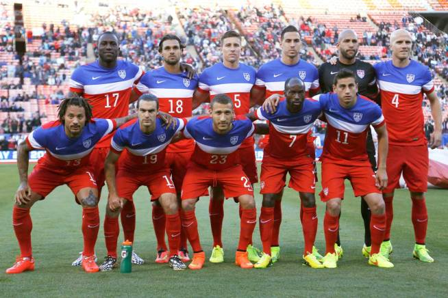 U.S. national soccer team players pose for a team photo before their international friendly soccer match against Azerbaijan in San Francisco