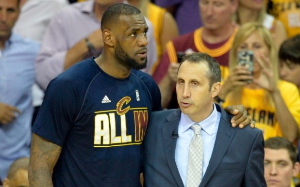 May 26, 2015; Cleveland, OH, USA; Cleveland Cavaliers forward LeBron James (23) talks with head coach David Blatt during the fourth quarter against the Atlanta Hawks in game four of the Eastern Conference Finals of the NBA Playoffs at Quicken Loans Arena. Mandatory Credit: David Richard-USA TODAY Sports