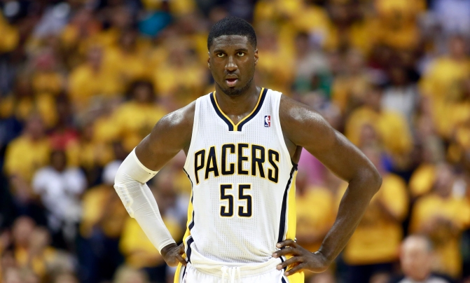 Pacers' Hibbert looks down court during Game 6 of their NBA Eastern Conference Final basketball playoff series against the Heat in Indianapolis